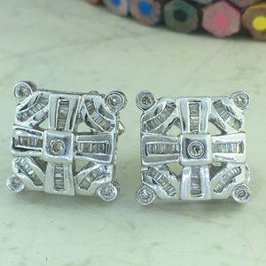 Jewelry - 14k White Gold Custom Design Omega Back Earrings